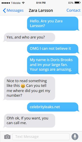 Zara Larsson phone number, whatsapp, email address